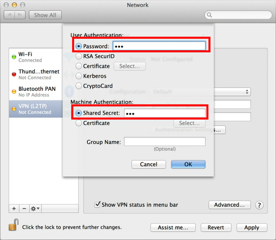 Show VPN status in menu bar and click Advanced